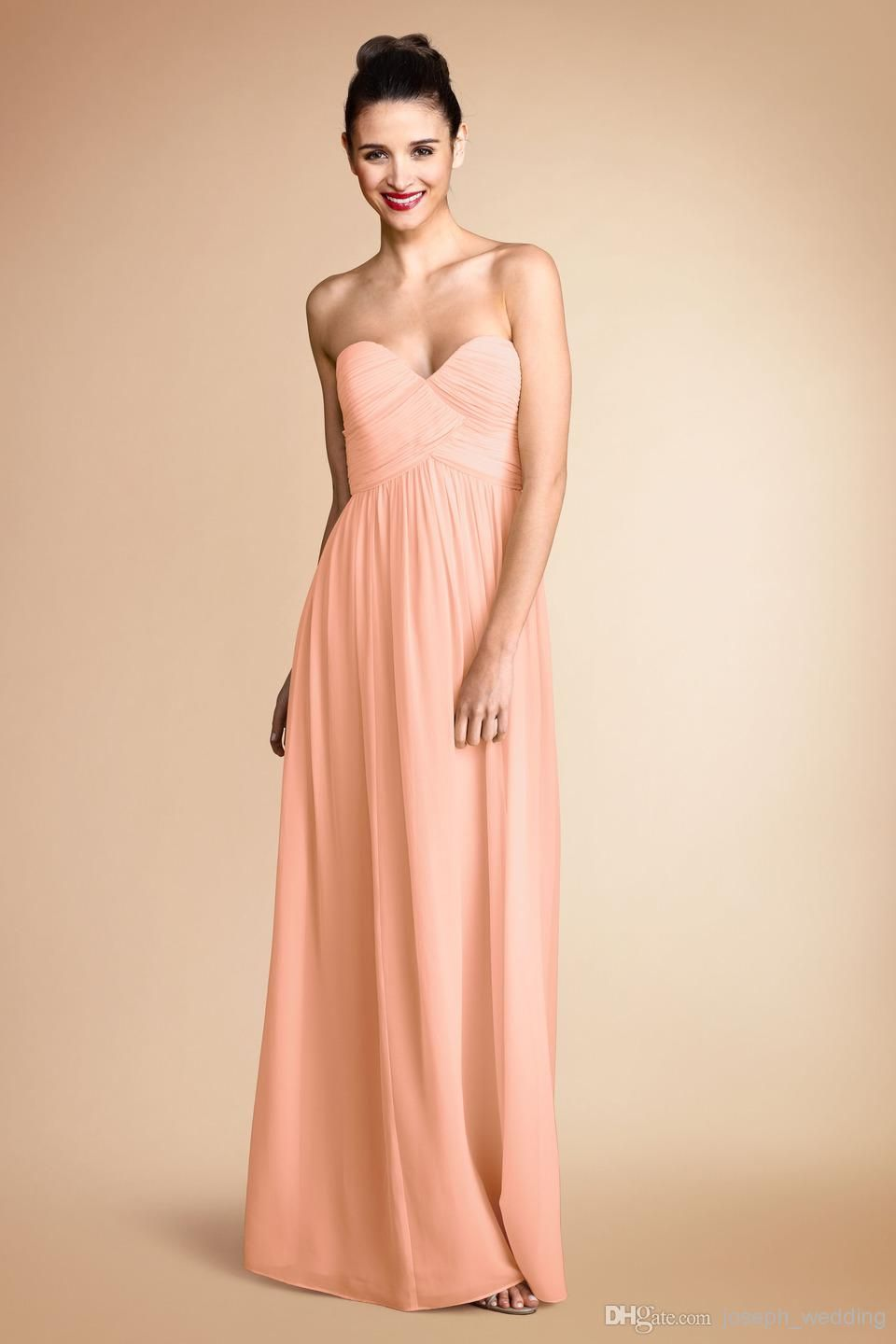 Wholesale Pretty Peach Color Sweetheart Pleats Chiffon Long ...