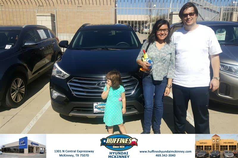 Congratulations Violeta On Your Hyundai Santa Fe From Vincent Barber At Huffines Hyundai Mckinney Https Deliverymaxx C Hyundai New Hyundai Car Dealership