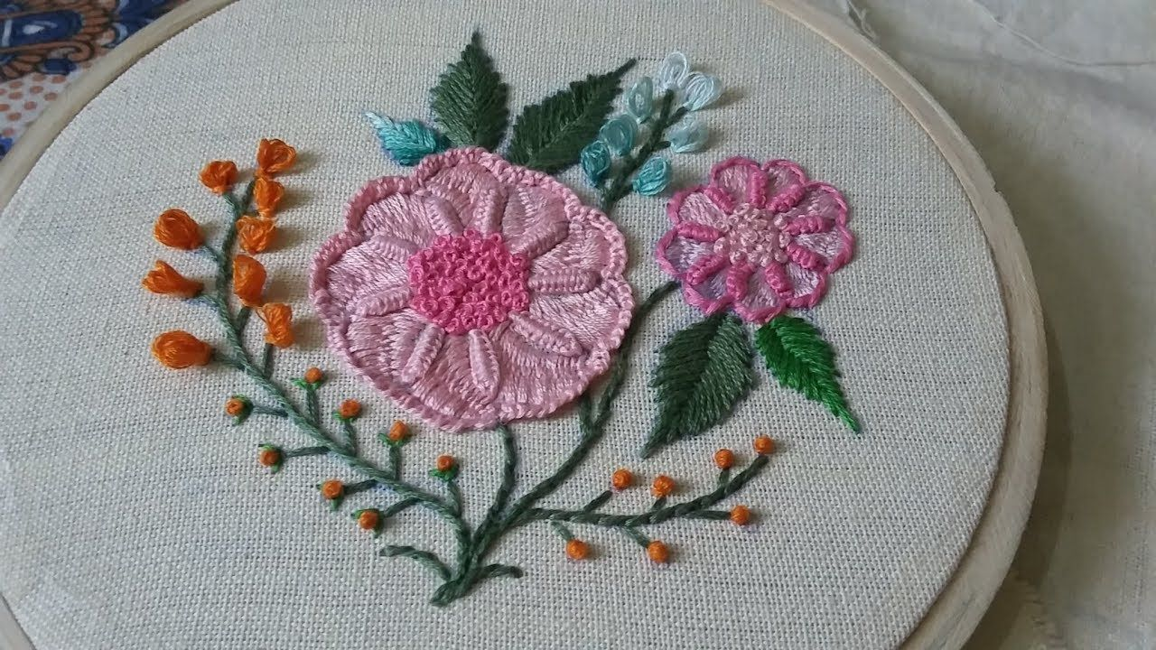 Hand embroidery of pink flowers Brazilian embroidery