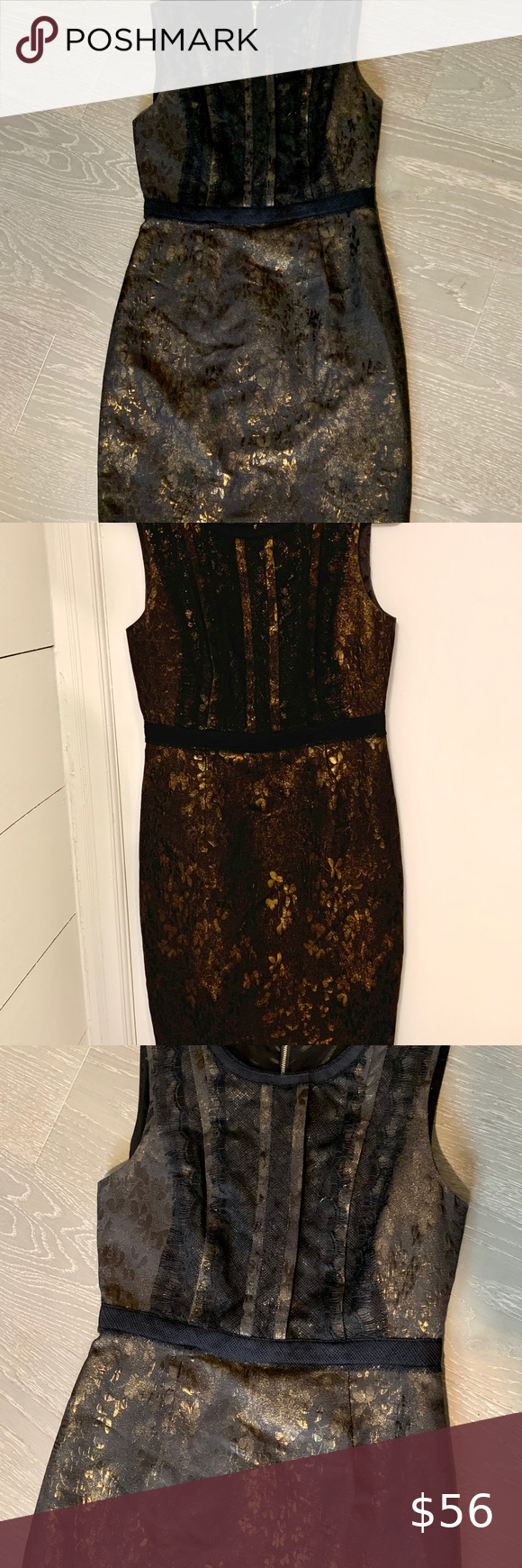 Elie Tahari Black Gold Metallic Sheath Dress Elie Tahari Elie Tahari Dresses Tahari [ 1740 x 580 Pixel ]