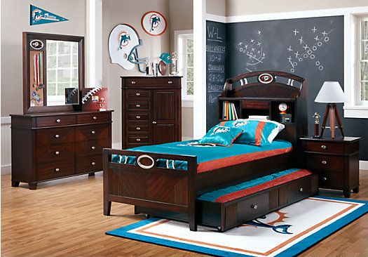 Bedroom Sets Boys shop for a nfl playbook 6 pc full bookcase bedroom at rooms to go