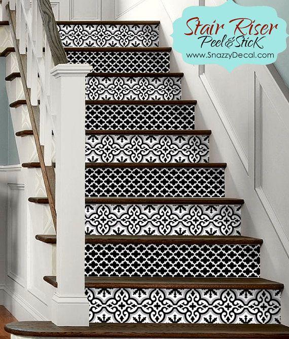 15pc stair riser vinyl strips removable sticker peel. Black Bedroom Furniture Sets. Home Design Ideas