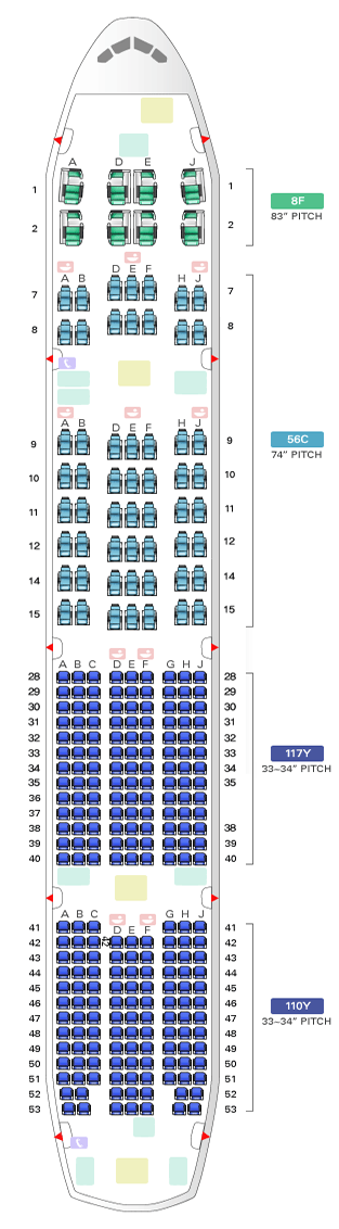 Airline Seating Charts Boeing Airbus Aircraft Seat Maps Jetblue Southwest Delta Continental United American Eas Qantas Airlines Airlines Seating Charts