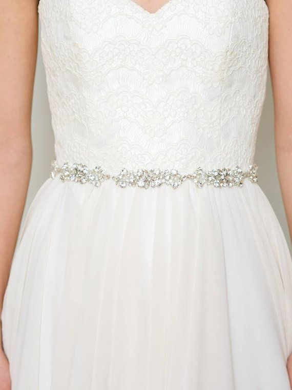 Rhinestone Bridal Belt | Beaded Sash | Crystal Wedding Dress Sash ...