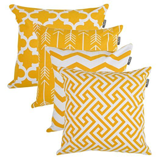 Brise Accent Chair Pillow Case: Accent Home Square Printed Cotton Cushion Cover,Throw