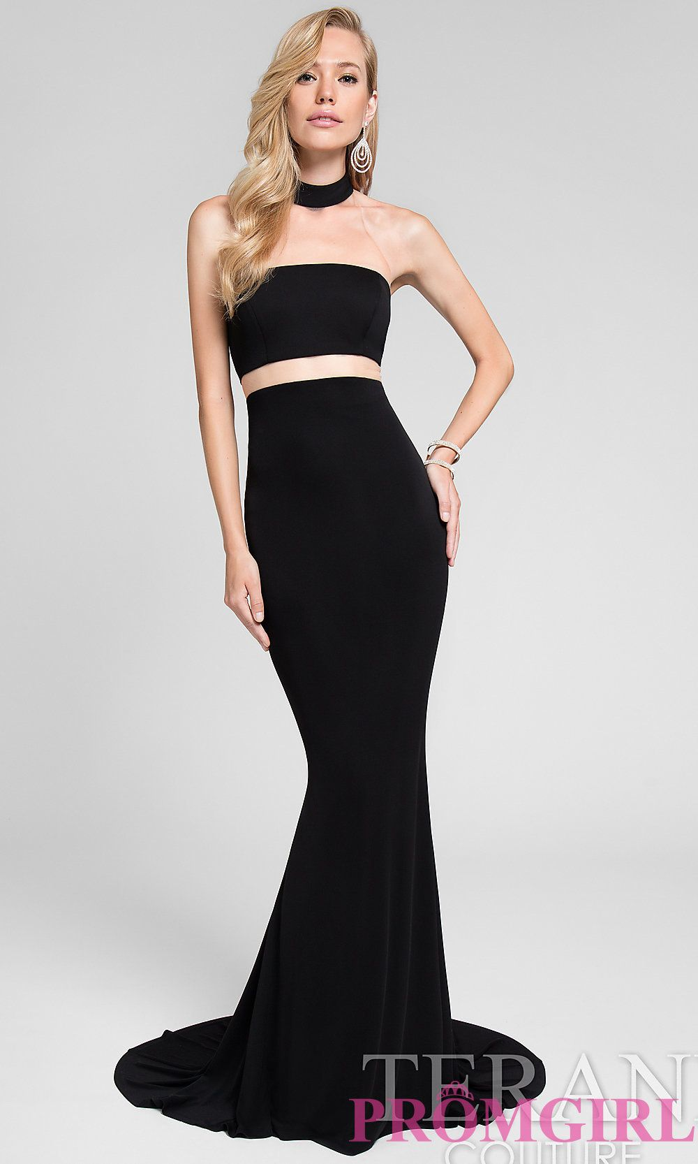 Long mock two piece high neck prom dress with a sheer waist by ...