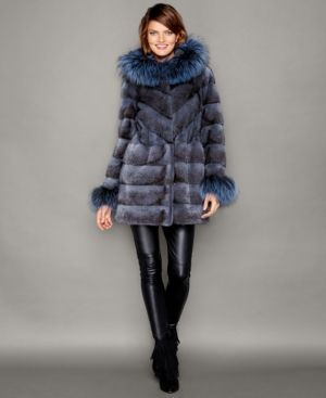 The Fur Vault Fox-Fur-Trim Hooded Mink Fur Coat - Blue S