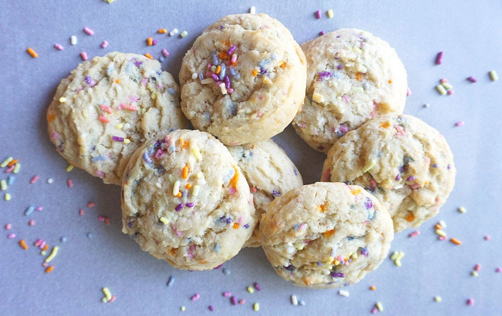 Soft and colorful vegan sprinkle cookies are perfect for classroom parties or any festive occasion.