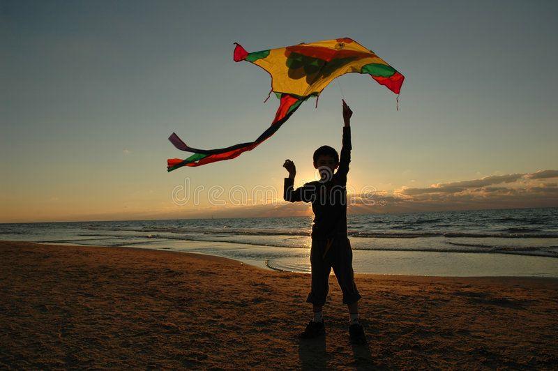 Boy with kite On the beach