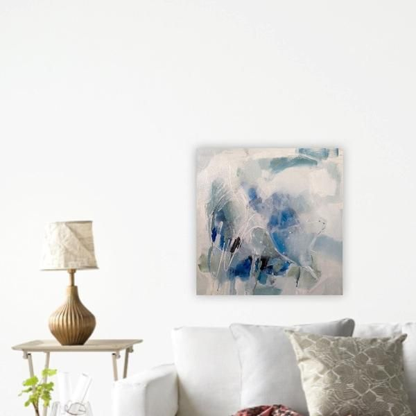 """This is a mixed media painting on a birch board that is wired for hanging. It is 1"""" deep, and the sides are painted white. Each painting is created and shipped"""