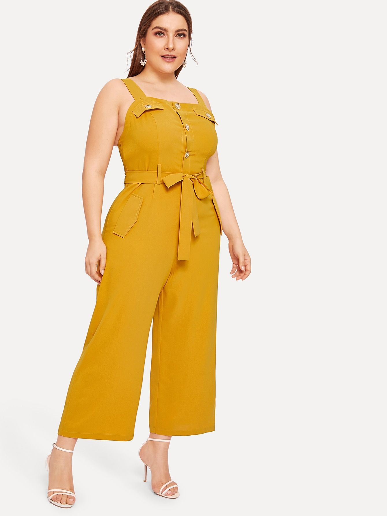 Ad: Plus Button Front Belted Cami Jumpsuit. Tags: Regular ...