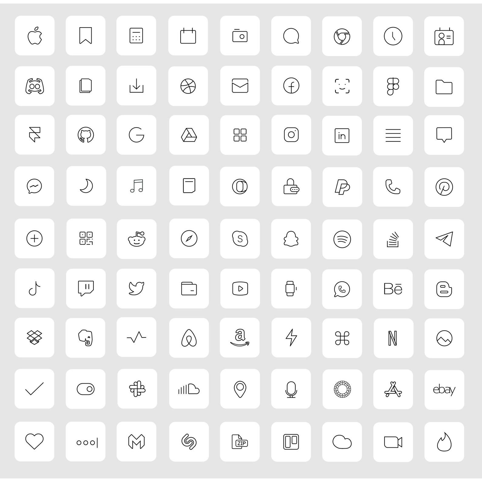 83 White iOS 14 App Icons Light Mood iOS14 Widget