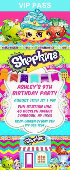 Shopkins Birthday Party Ticket Invitations Shopping Kids