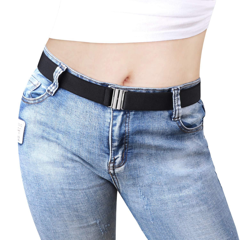 Adjustable Stretch Belt for Women Men Solid Color No Show Flat Buckle Elastic Waist Belt for Jeans Dresses