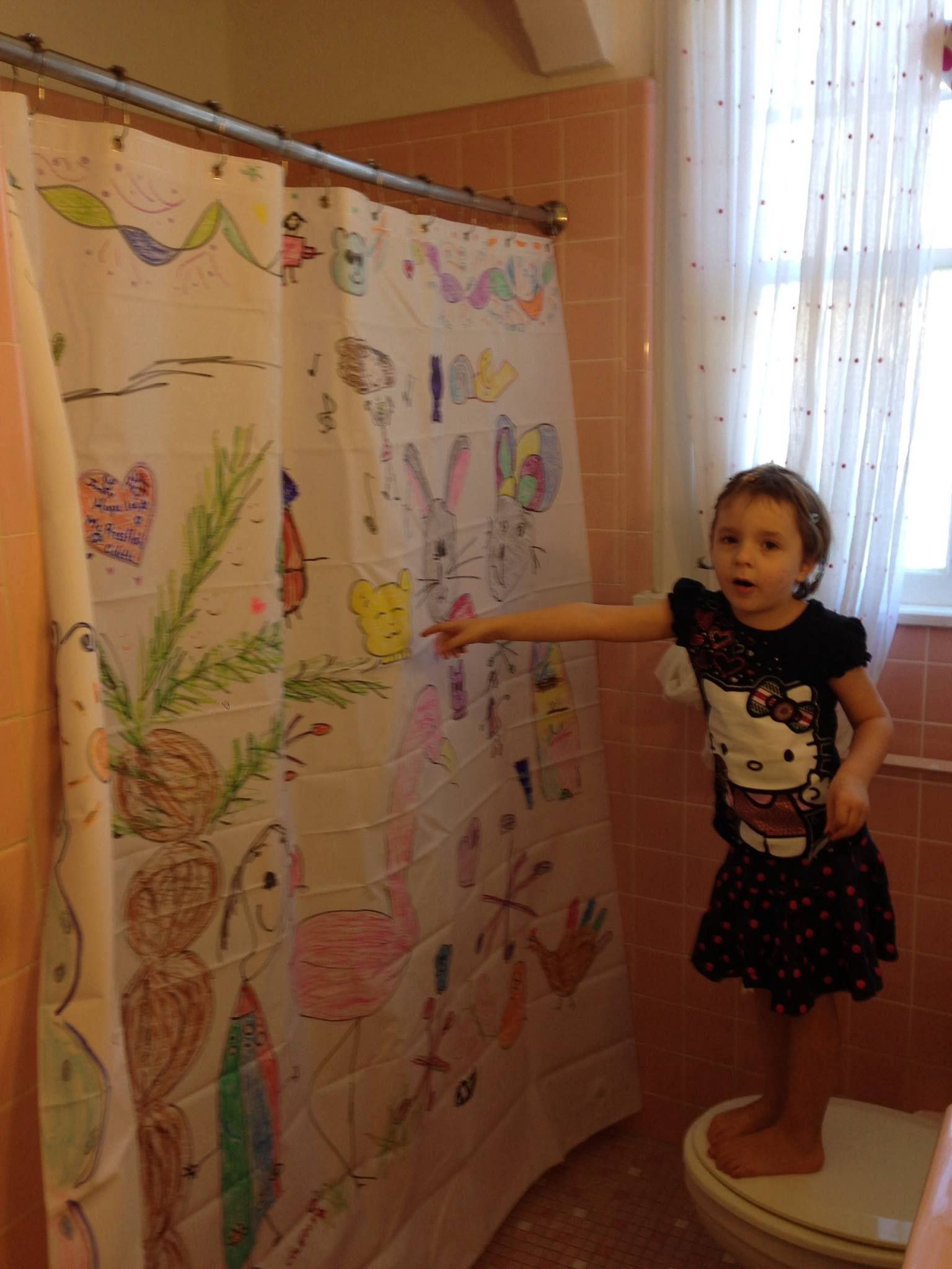 Shower Curtain Art Done With Sharpies On A Plain Plastic Shower