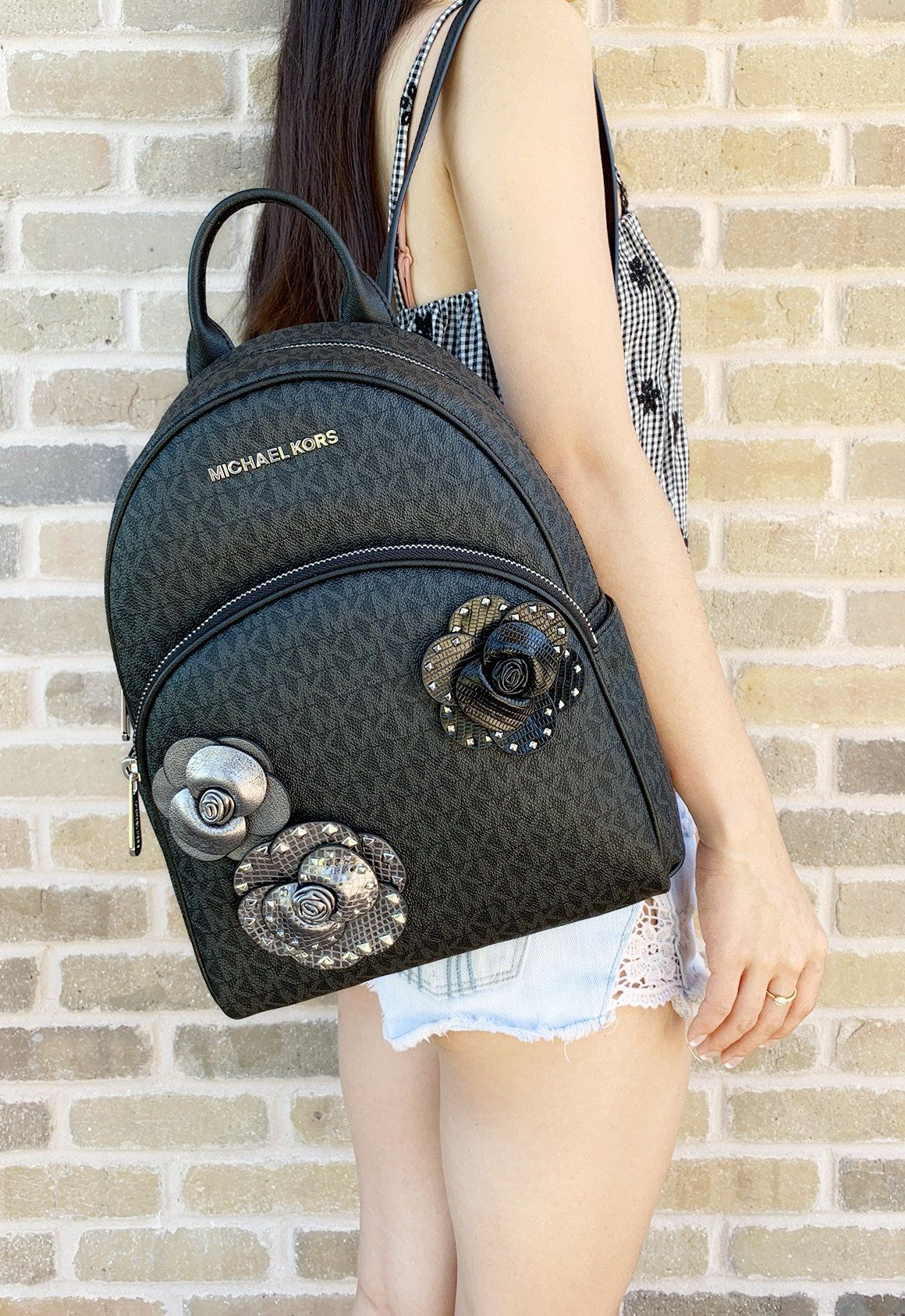 69defbd8b31a Michael Kors Abbey Medium Backpack Black MK Signature Flower School Bag   amazonfashion  poshfashion  ebaybusiness  mercariapp  eBay  posh   poshpackages  top ...