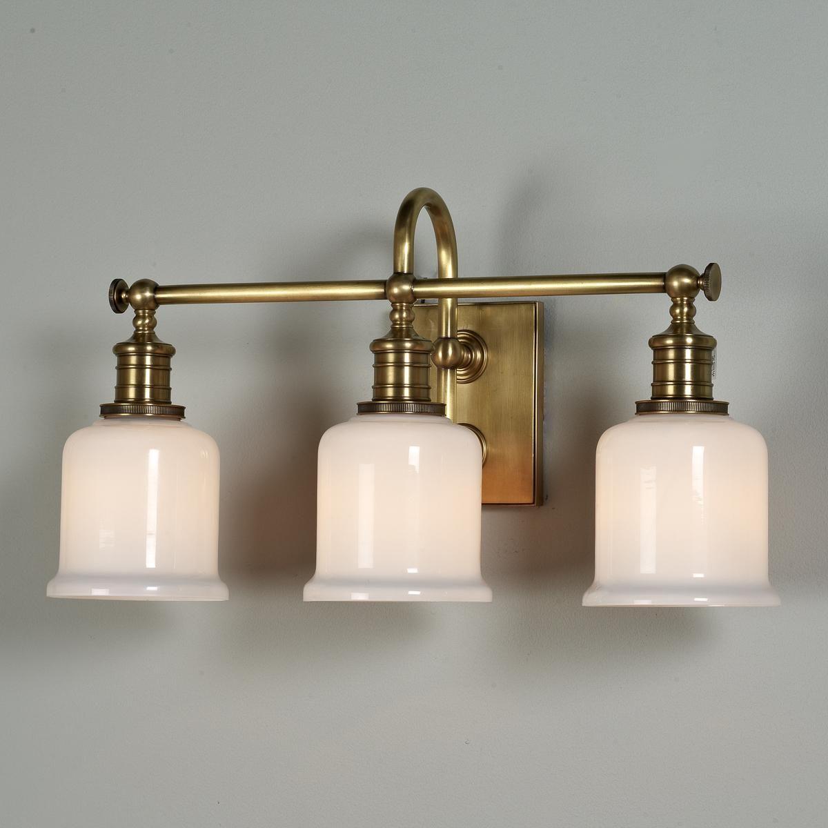 Well Appointed Bath Light 3 Light Bath Light Antique Light Fixtures Brass Light Fixture Polished brass bathroom lights