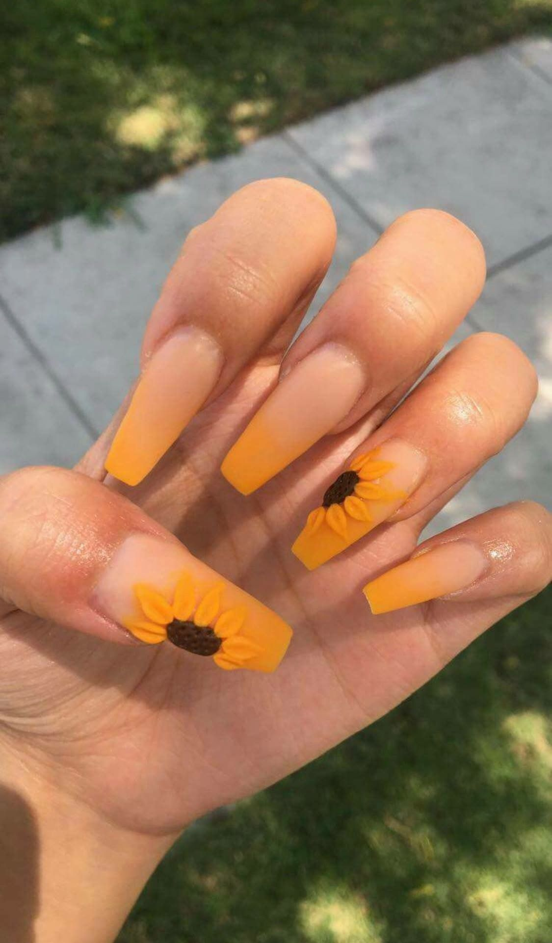 Sunflower Coffin Nails Coffin Nails Designs Sunflower Nails