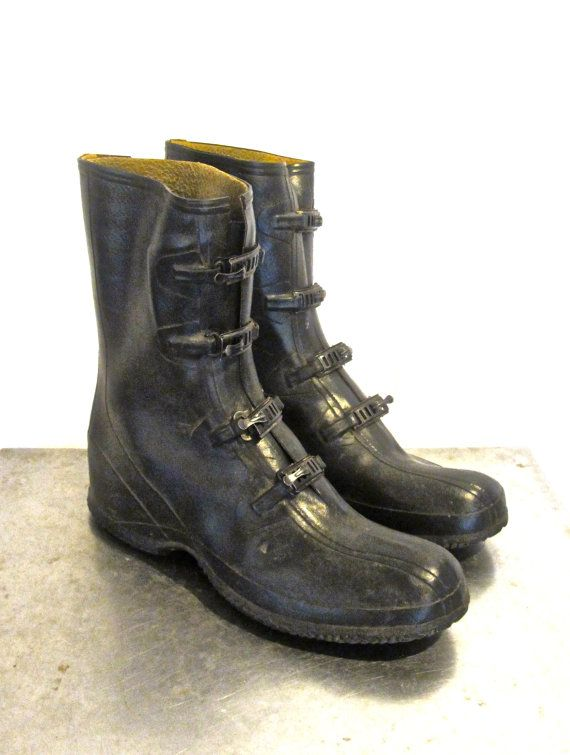 cf29d7f659ce0 vintage rain boots - 1940s Ball Band black rubber men's work/rain ...
