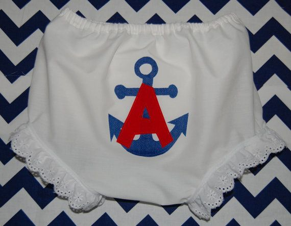 Appliquéd Anchor and Monogram Bloomers with Eyelet Trim
