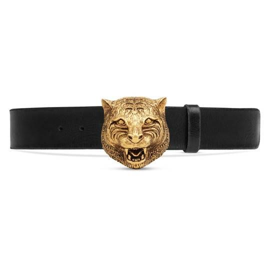 Leather Belt With Tiger Head In Black Leather Gucci Women S Skinny Belts For Women Gucci Leather Belt Womens Designer Belts