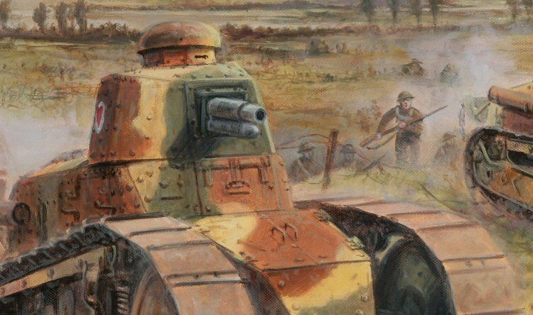 Renault FT followed by American infantry