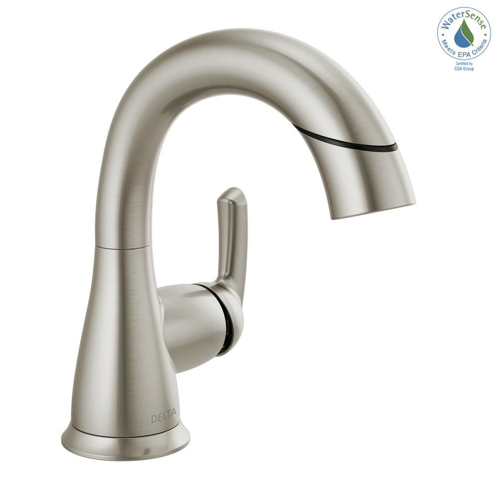 Delta Broadmoor Single Hole Single Handle Bathroom Faucet With Pull Down Sprayer In Spotshield Brushed Nickel 15765lf Sppd The Home Depot Bathroom Faucets Delta Faucets Faucet