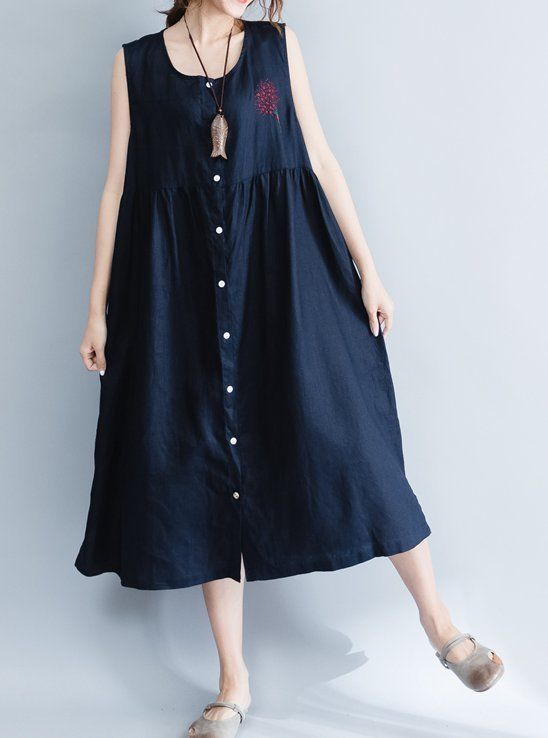bc7607e627 Women loose fit over plus size blue dress linen long pocket tunic skirt  button  Unbranded  dress  Casual