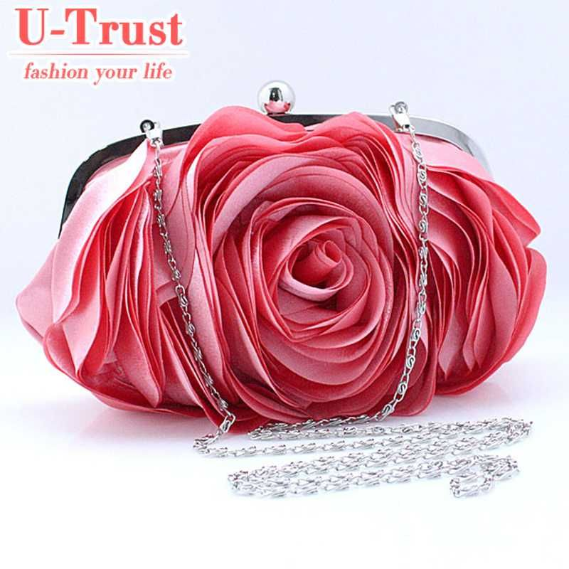 Punk Style Women's Best Lovely Flower Satin Evening Bags Oval Rose Flower Clutch Purse Floral Party Handbag 12 color W H 0084