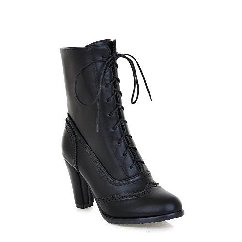 Women's Lace Up Pu Round Closed Toe High Heels Solid Boots with Hollow Out