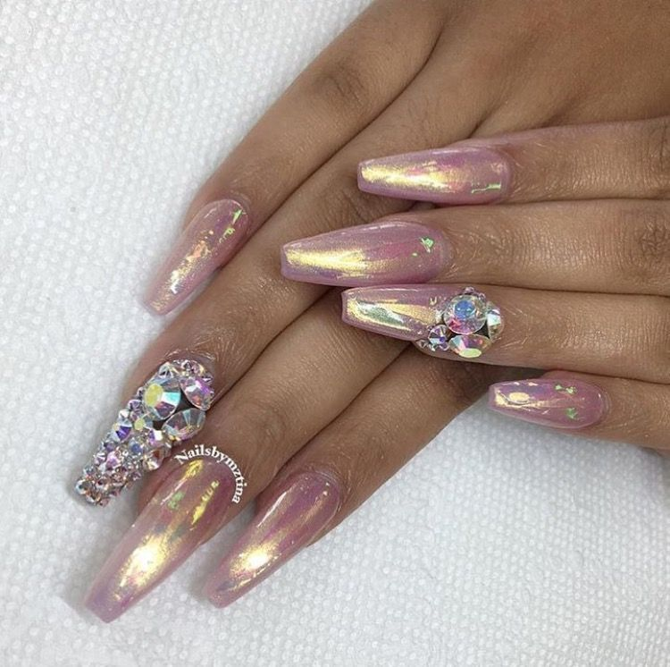Pink Fairy Dust W Holographic Strips Rhinestones