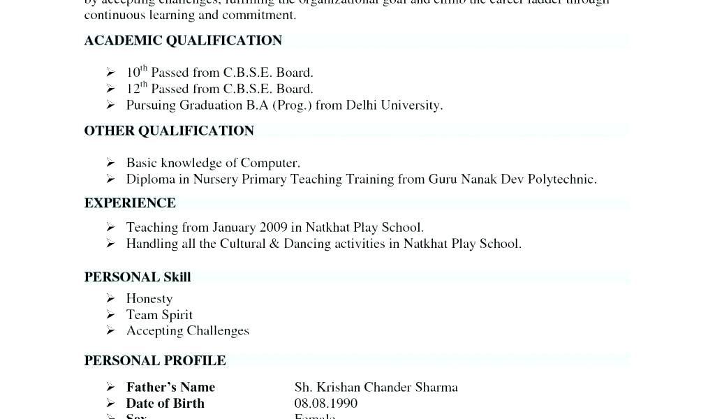 Format For Teacher Resume Resume Format For Teaching Example Of A