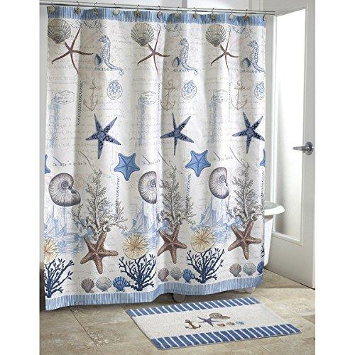 Kids Blue Grey Sea Life Beach Themed Shower Curtain Ocean Detailed Starfish Coral Shell Printed Polyester Color Seahorses