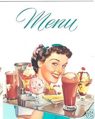 Diner Menu 50's Carhop for Cafe Soda Fountain Party Decor Waitress w Icecream | eBay