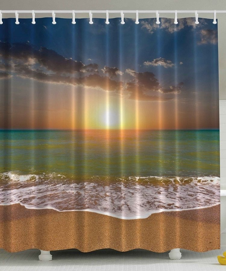 Sunset On The Beach Nautical Themed Curtain Beach Shower