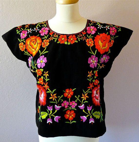 SALE Mexican embroidered FLORAL VINTAGE Tehuana huipil black matte satin  blouse - Oaxaca - Frida Style - Medium
