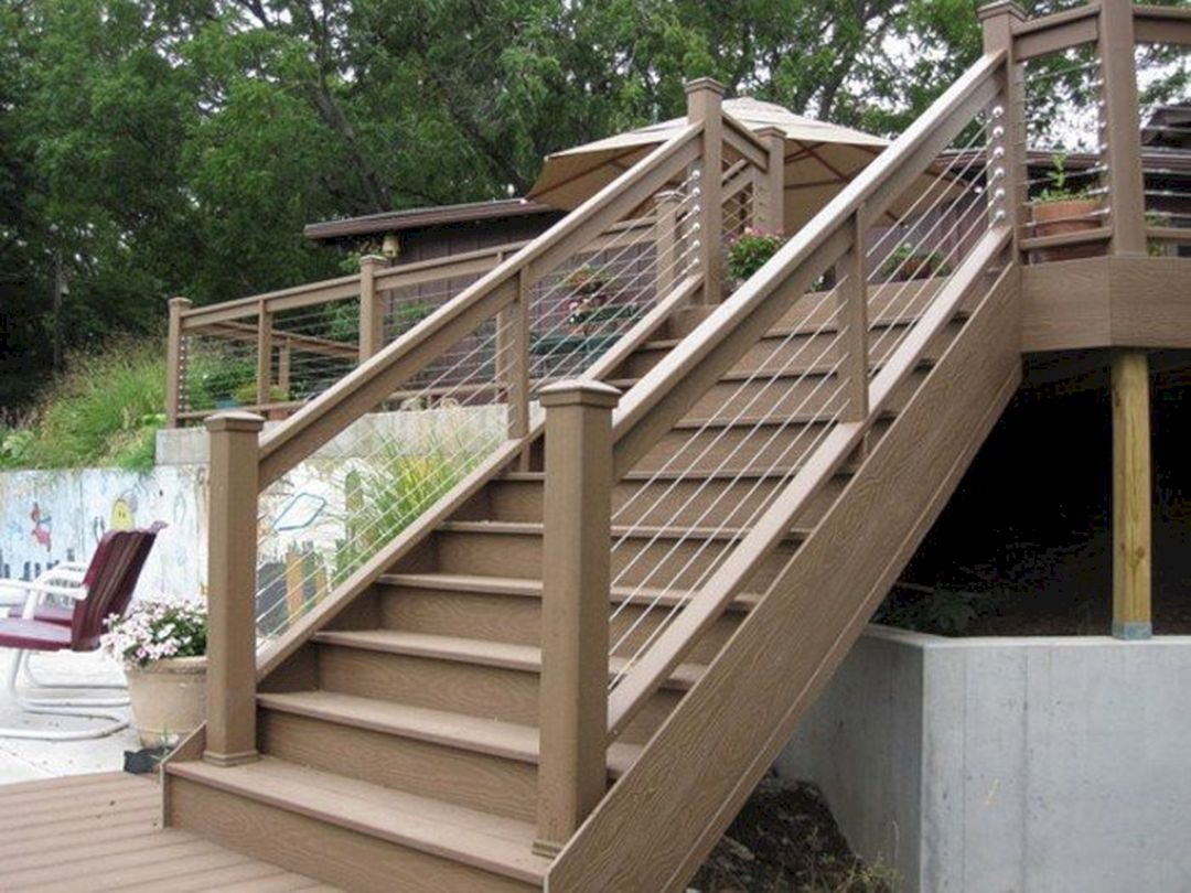 Amazing 30 Unique Outdoor Wooden Stairs Ideas That Will Enhance