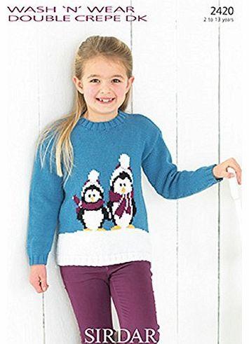 Sirdar Knitting Pattern Wash N Wear Dc Dk 2420 Girls Christmas