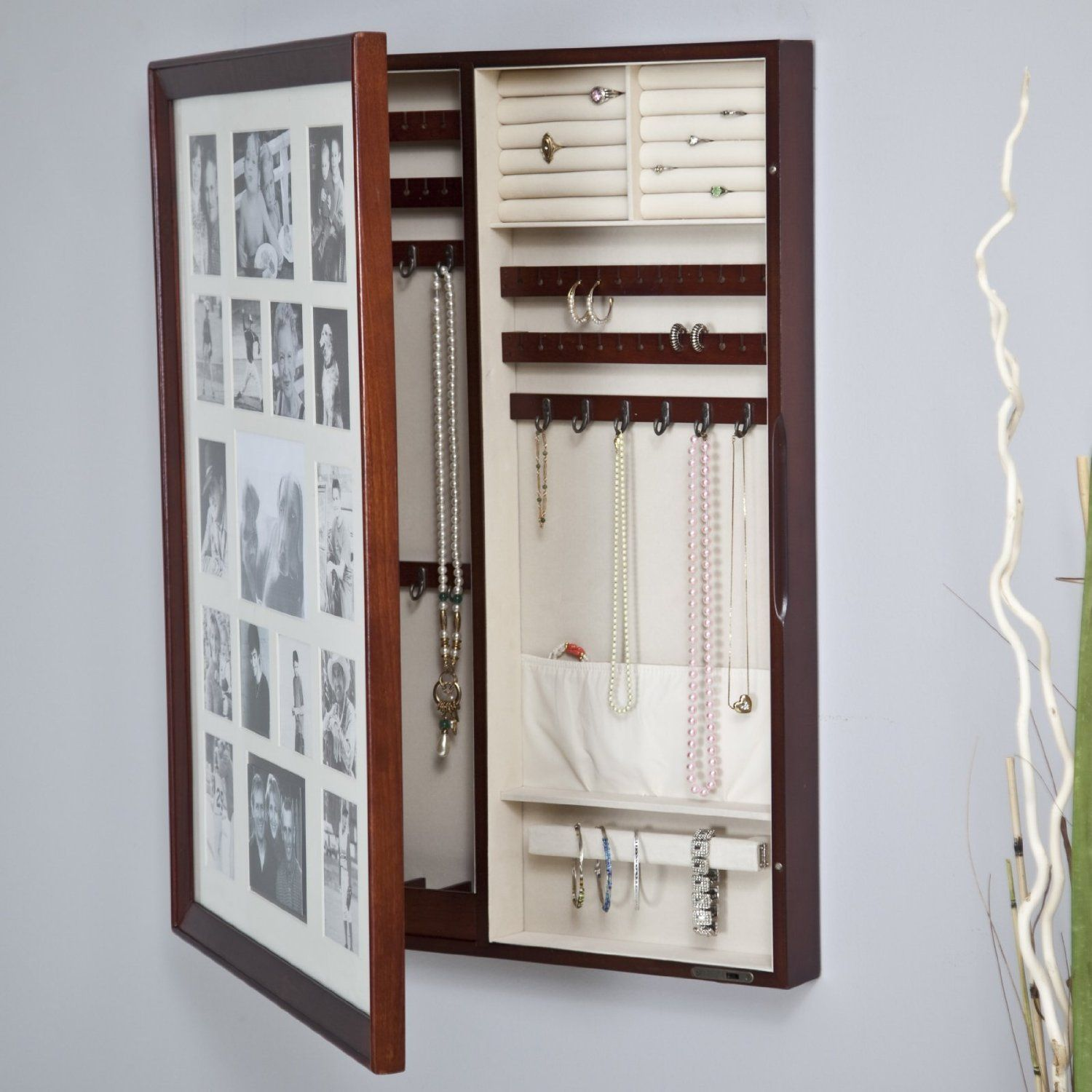 Amazoncom Collage Photo Frame Wooden Wall Locking Jewelry Armoire