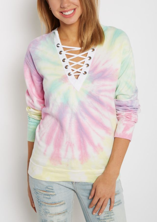 b830a14eab image of Tie Dye Lace-Up Sweatshirt