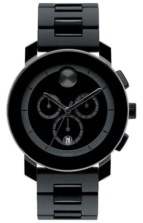 52c2bd107 Movado Bold - 43.5mm large Movado BOLD chronograph, black TR90 composite  material/stainless steel case, black dial, black TR90/polyurethane link  bracelet, ...