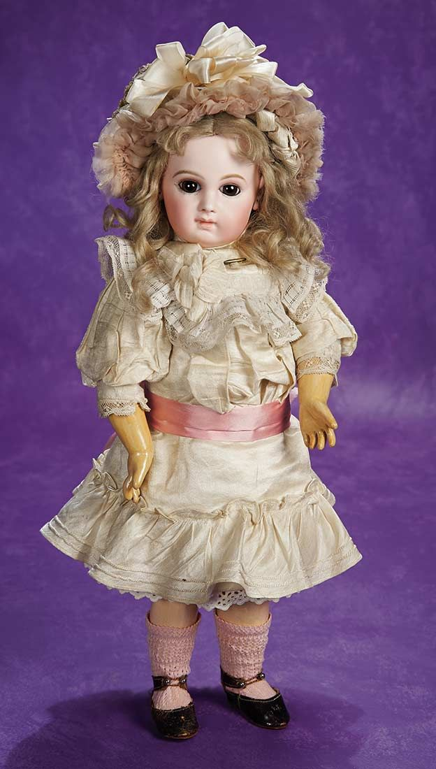 """Gorgeous French Bisque Premiere Bebe by Emile Jumeau with Exquisite Antique Costume 18"""" (46 cm.)"""