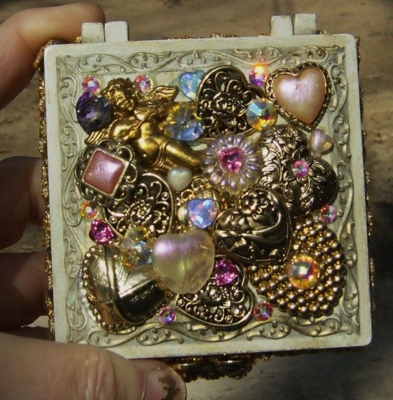Victorian Style Collage hearts angels Metal jewelry box 1400 via