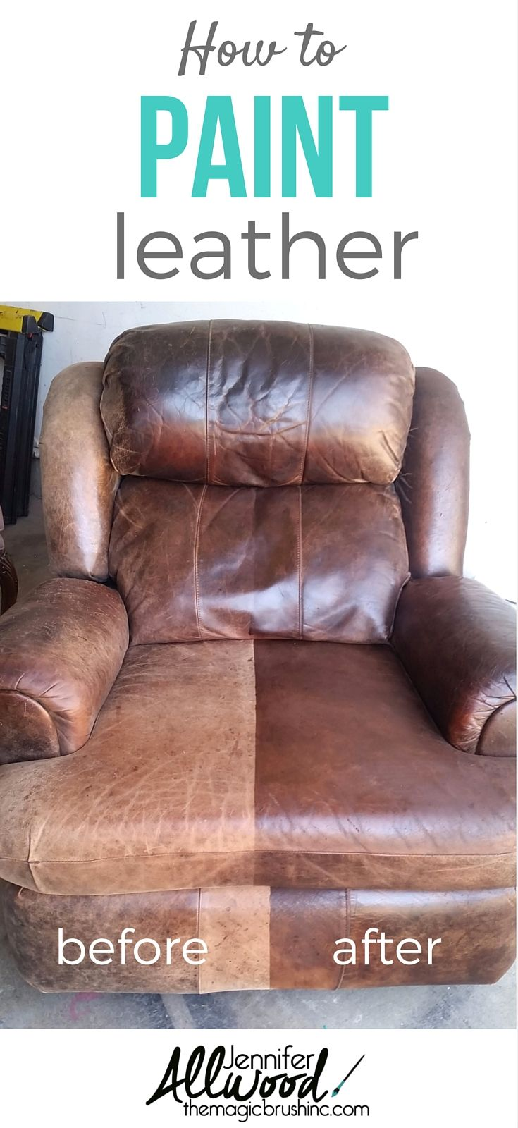 Heres a tutorial on how to paint and fix worn out leather furniture leather easily looks faded and cracked and this product will give you a beautiful