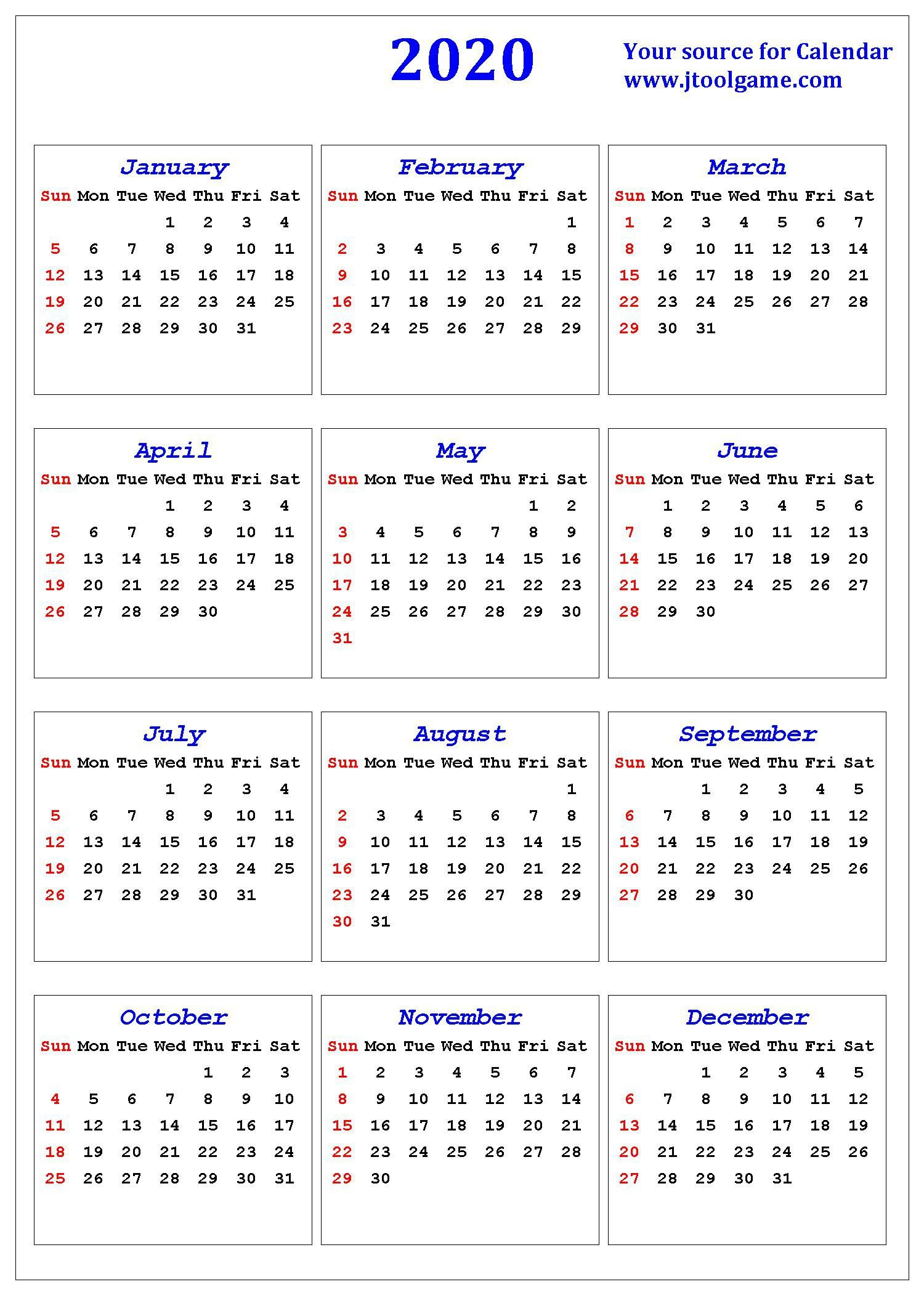 Small Printable Calendar 2020 Calendar Printables Calender Printables Free Printable Calendar