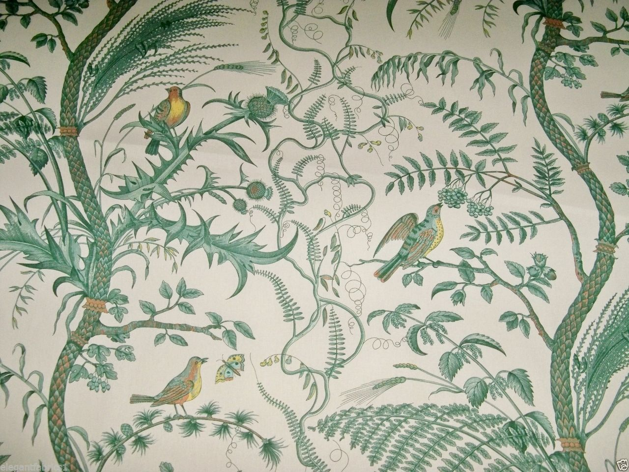 BRUNSCHWIG & FILS BIRD AND THISTLE TOILE FABRIC 10 YARDS