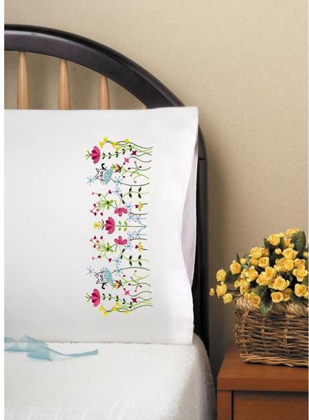 Cats In Flowers Pillowcase Pair Stamped Embroidery Kit