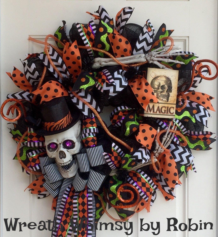 Halloween Skeleton Deco Mesh Wreath, Halloween Decor, Skeleton Wreath, Font