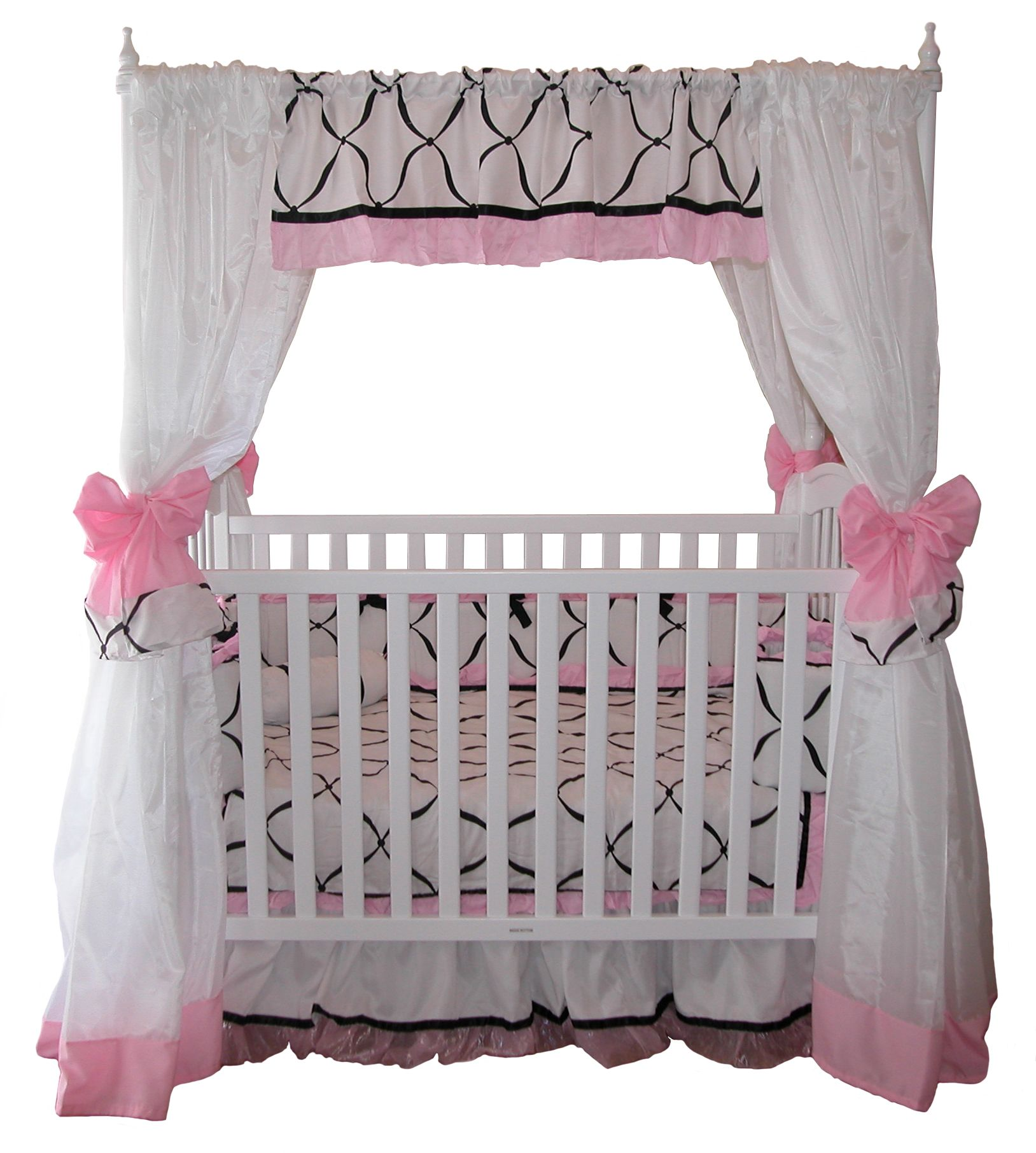 Wooden White Baby Crib with Black Curved Line Pattern Mattress and White Curtain Accessories that have Pink Ribbons for Baby Nursery Crib Decorating with ...  sc 1 st  Pinterest & Google Image Result for http://www.princesscanopybeds.com/images ...