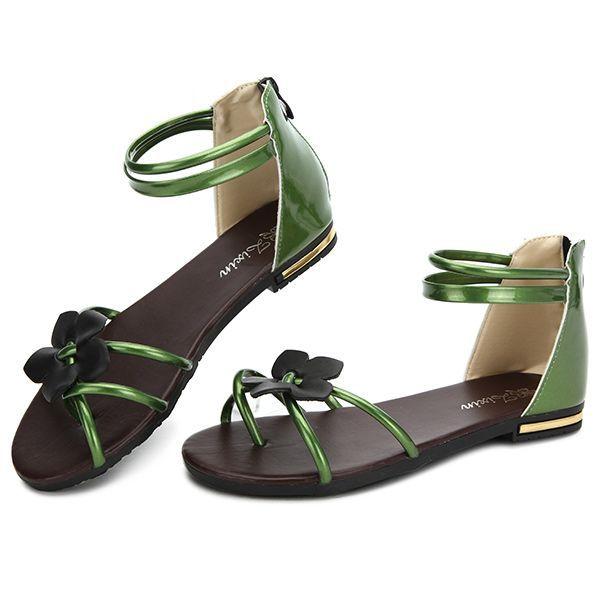 9c21486cc4a6 Women Summer Chic Beach Sandals Flower Zipper Flat Sandals Peep Toe Sandals  Worldwide delivery. Original